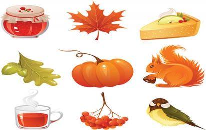vector conjunto de iconos de otoño
