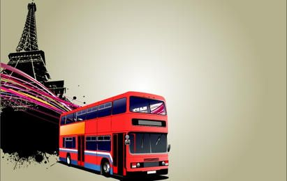 School Bus and Eiffel Tower