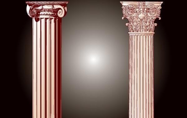 Vintage Building Pillar Vector
