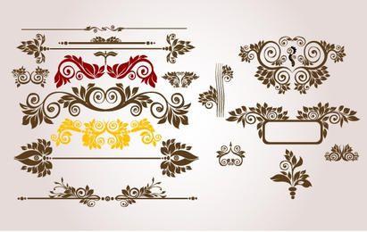 Weinlese-Blumenverzierungs-Satz