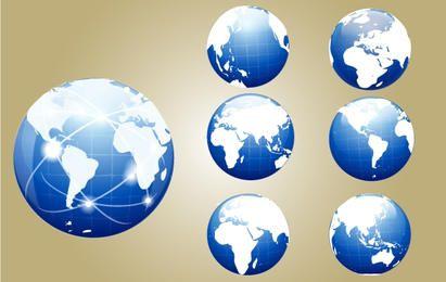 Globo azul con mapa del mundo