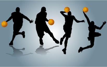 Jogadores, executando, com, basquetebol