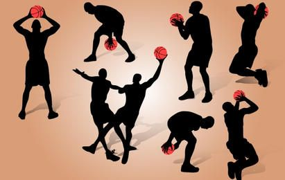 Baloncesto jugando paquete silueta
