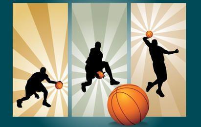 Baloncesto jugando movimiento silueta