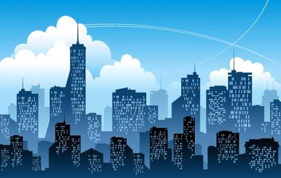 Cidade azul com edifício alto