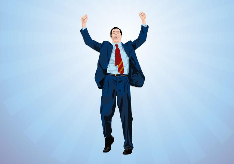Personagem de executivo de negócios feliz