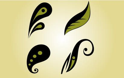 Whimsical Flourish Leaf Vector