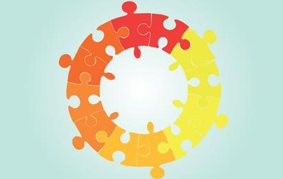 Quebra-cabeça em forma de círculo de vetor