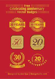 Anniversary Celebration Golden Badges Pack