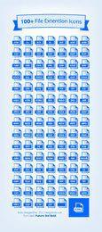 Einhundert blaue Dateierweiterung-Symbole