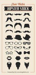 Enfriar Hipster Set Silhouette