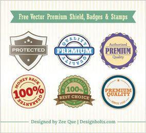 Vintage Premium Shield Badges & Stamps