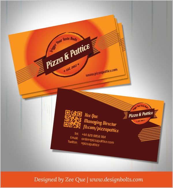 Pizza pattice fast food business card vector download for Get business cards fast