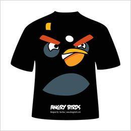 T-shirt irritado preto do pássaro