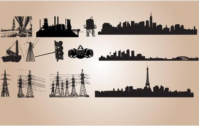 Silhouette Industrial Vector