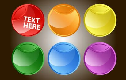 Fluorescent Rounded Button Pack