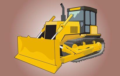 Escavadora amarela alta detalhe