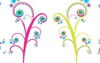 Vectores coloridos remolinos florecientes