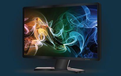 Monitor LCD preto largo
