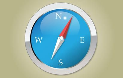 Blue Glossy Compass Icon