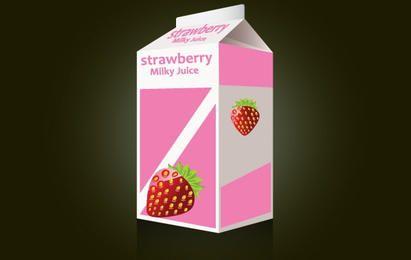 Erdbeer-Milch-Paket-Vorlage