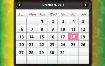 Calendário Brilhante Dezembro de 2013