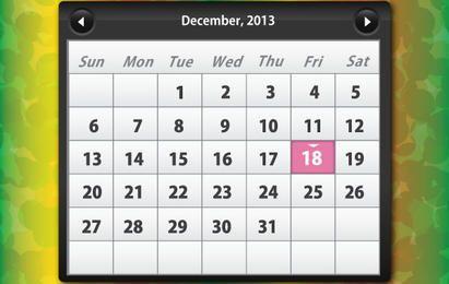 Glänzender Kalender Dezember 2013