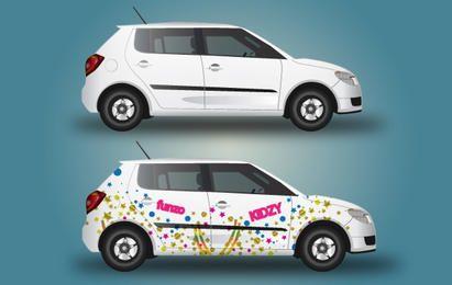 Carro com design de embrulho
