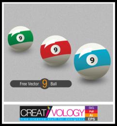 Tres bolas de 9 en diferentes colores
