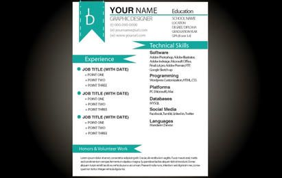 Aqua Basic Resume Template