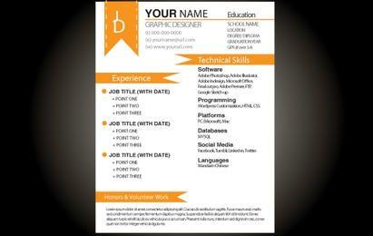 Orange Grundlegende Resume-Vorlage