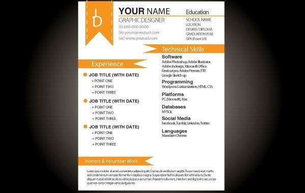 orange basic resume template