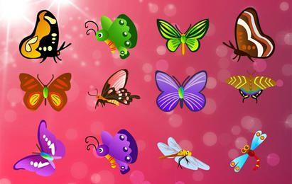 Paquete de mariposas volando alegremente
