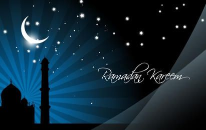 Mezquita en Stunning Night Moonlight