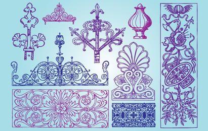 Paquete de formas antiguas ornamentales