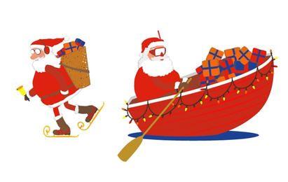 Patins de Santa e barco