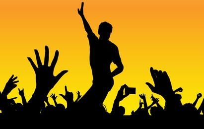 Multidões de concerto feliz de silhueta