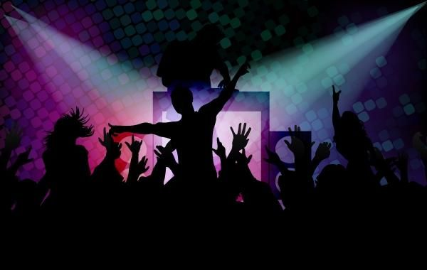 Disco Background with Happy Peoples
