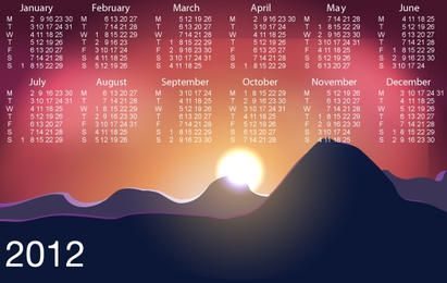 Beautiful Sunrise with Template Calendar