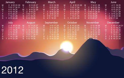 Belo nascer do sol com calendário de modelo