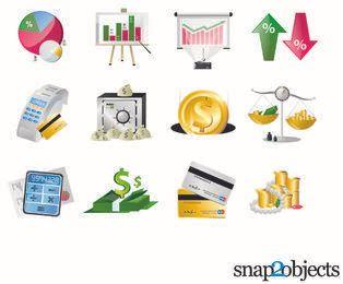 Belo conjunto de ícones financeiros