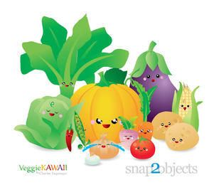 Pacote de vegetais frescos Kawai
