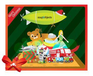 Brinquedos de Natal estilo funky no fundo listrado