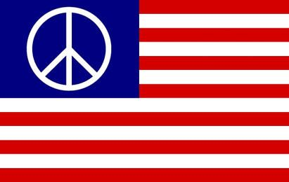 Bandeira dos EUA com o símbolo da paz