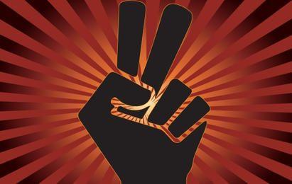 Paz e superar o sinal com o dedo