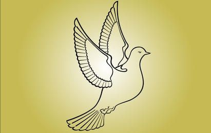 Line Art Pigeon Bird of Peace