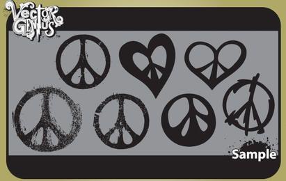 Pacote de sinal de paz vintage