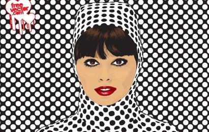 Rostro de mujer con tela de patrón de puntos