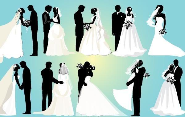 matrimonio pareja blanco y negro paquete descargar vector. Black Bedroom Furniture Sets. Home Design Ideas