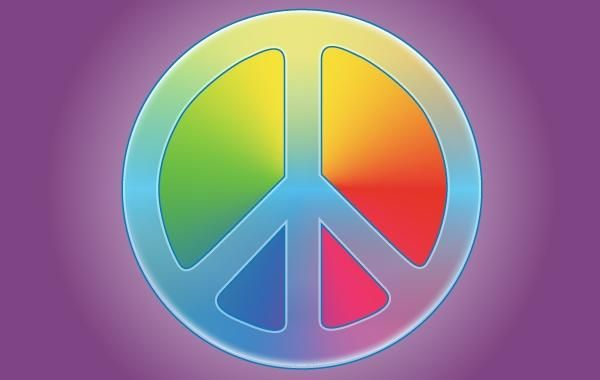 Glowing Rainbow Peace Symbol